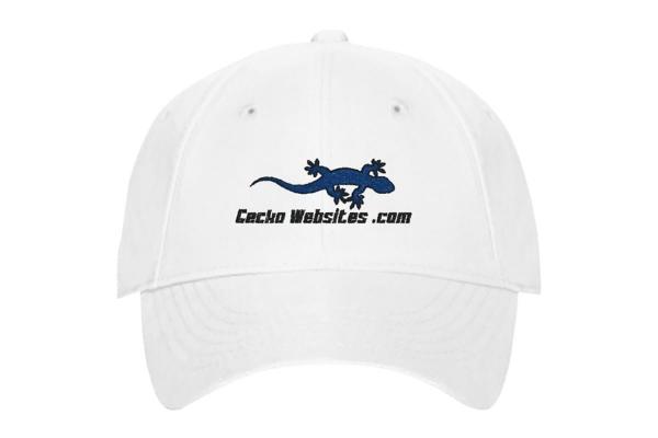 Gecko Websites Baseball Cap - White, Front